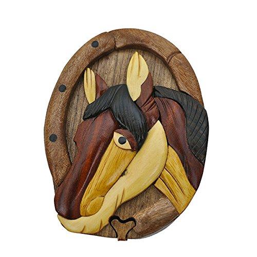Handmade Wooden Art Intarsia TRICK SECRET Horse Head Colt Foal Puzzle Trinket Box Puzzle Box (3436) (g2) ()