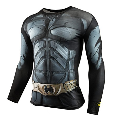 HOCOOL Men's Slim Compression Shirt,Bat Men Running Sport Crewneck Tee Long Sleeve M