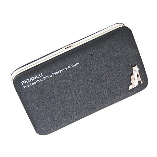 Sharplace Donna Moda Lungo Pu Borsa Portafoglio Della Moneta Cellulare Sacchetto Portamonete Multicolore - Nero, Taglia unica