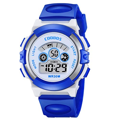 Kid Watch 50M Waterproof Sport LED Alarm Stopwatch Digital Child Quartz Wristwatch for Boy ()