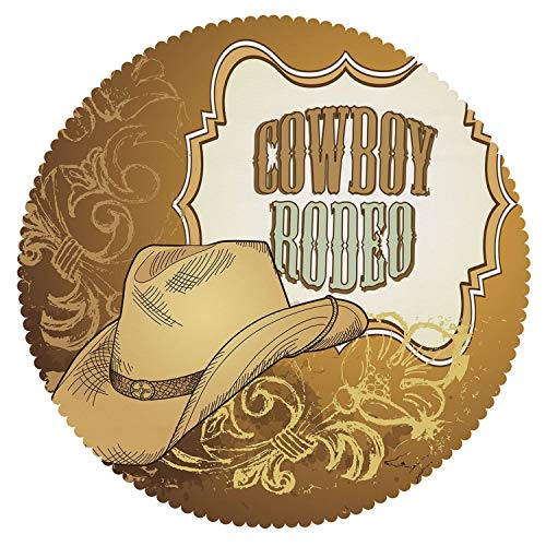 iPrint Round Tablecloth [ Western,Cowboy Rodeo Themed Framework Vintage Floral Ornaments and Hat Design Decorative,Light Caramel White ] Fabric Home Set