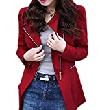 XTX Women's Slim Long Sleeve Full Zip Ruched Solid Blazers Jacket Red Small