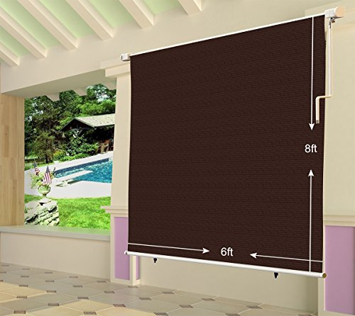 Shatex 8x6ft Coffee Outdoor Roller Sun Shade Exterior Cordless Roller Shade by Shatex