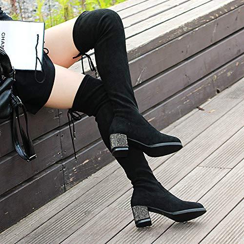 Spesse In A Storia Del E Lungo Inverno 6Cm Autunno Boots Cravatta Ginocchio Tacchi HBDLH Knight A Tubo Acqua black Stivali Spillo Con da Scarpe donna In Alti cZafRYq