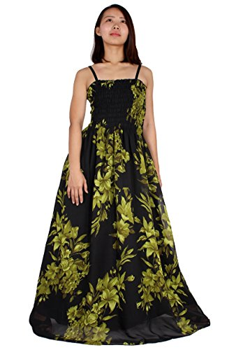 Maxi Dress For Women Plus Size Clothing Party Gift Idea Wedding Guest Haiwaiian (1X, Black/ Green Floral)