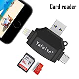 usb cable micro sd - Yafeite SD Card Reader,USB Memory Micro SD/TF Card Reader Adapter for Lightning Connector iPhone/iPad/Android Phone/Mac/Type C, 4 in 1 (Black)