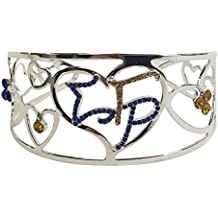 Sigma Gamma Rho G1392 Color Crystal Filigree Heart Bangle Bracelet Fraternity Divine Nine Greek