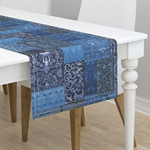 Table Runner - Blue Cobalt Cornflower Medieval Tapestry Cheater Sfaut15 by Peacoquettedesigns - Cotton Sateen Table Runner 16 x 72