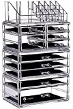 """Cq acrylic Large 9 Tier Clear Acrylic Cosmetic Makeup Storage Cube Organizer with 10 Drawers. It Consists of 4 Separate Organizers, Each of Which Can be Used Individually -9.5""""x6.5""""x14.5"""""""