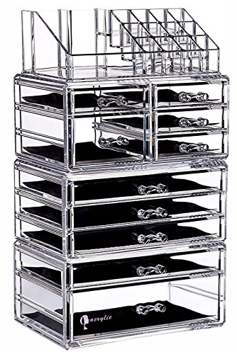 Cq acrylic Large 9 Tier Clear Acrylic Makeup Organizer Cosmetic Storage Cube Case with 11 Drawers-4 Piece Set