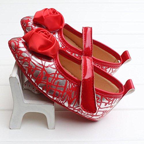 Clode® Niedlich Baby Mädchen PU-Leder Schuhe Lässige Schuhe Weiche Alleinigen Schuhe Prinzessin Schuhe (11/0 ~ 6 Monate, Rot)