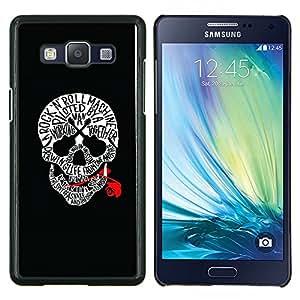 LECELL--Funda protectora / Cubierta / Piel For Samsung Galaxy A5 A5000 -- Cráneo Rojo Sangre rollo de la roca Guitarra Música --