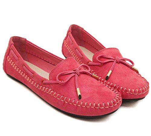 Minetom Damen Mokassin Sommer Bowknot Flach Schuhe Slip on Modische Slippers Freizeit Flach Pump Erbsenschuhe Rot