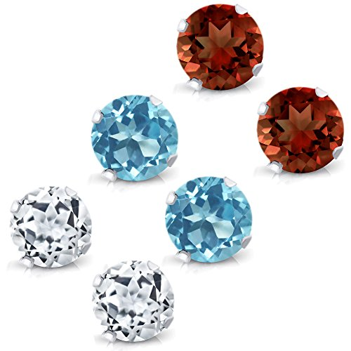 (Gem Stone King Sterling Silver 4mm Blue Topaz, White Topaz and Garnet Stud Earrings Set of 3)