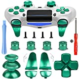 Z&Hveez Metal Buttons for PS4 Controller Gen 2, Metal Aluminum Bullet Buttons & L1 R1 L2 R2 Triggers & D-pad & Thumbsticks Replacement Kit for PS4 Slim/PS4 Pro DualShock 4 Controller (Metal Green)