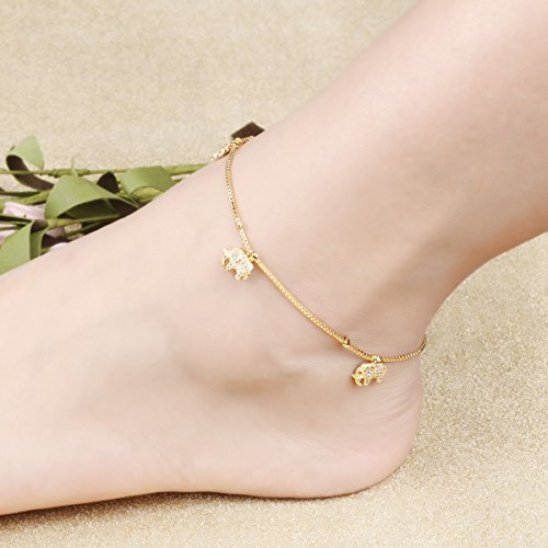 Fashion Aanklets 18K Gold Tone Rhinestone Elephant Beach Foot Chain Aanklet for Women L8.19+1.5'' by LOHOME (Image #3)