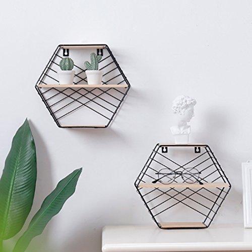 HMANE 3-Tier Wall Storage Rack,Decorative Hanging Hexagon Shelf Organizer for Kitchen,Bathroom,Office - Black by HMANE (Image #3)