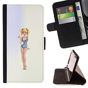 Ihec-Tech / Negro Flip PU Cuero Cover Case para Sony Xperia Z3 D6603 - Modèle Sexy Girl Blonde Maillot de bain