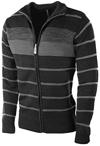 Enimay Men's Zip Up Striped Turtleneck Long Sleeve Sweater Business Style Cardigan Black Medium