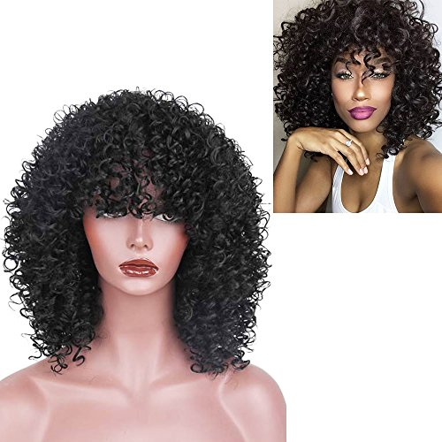 High Temperature Fiber Mixed Brown and Blonde Color Synthetic Short Hair Afro Kinky Curly Wigs for Women Black Hair