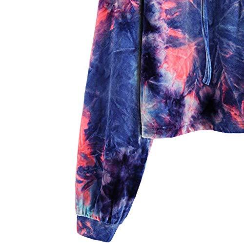 Lunghe Pullover Corta Felpa Inverno Blu Elegante Felpe Maniche con Corte Donna Top Autunno Camicia Tumblr Donna Felpe Donna Ragazza VICGREY Ragazza Cappuccio 7qBvg