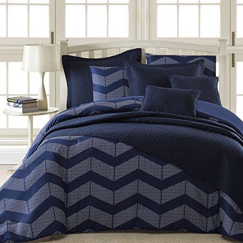 Comfy Bedding Spot Chevron Microfiber 5-Piece Comforter Set (Queen 5-Piece, Navy Blue) Black Friday & Cyber Monday 2018