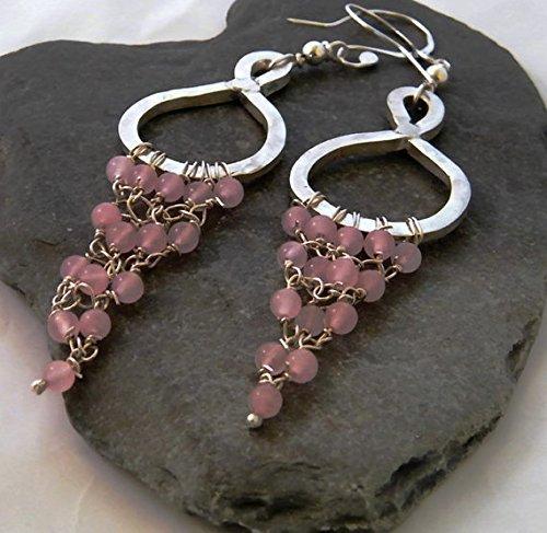 - Rose Quartz 925 Silver Hoop Chandelier Dangle Earrings