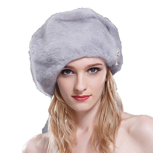 URSFUR Ladie's Mink Full Fur Beret Hats (SAGA Sapphire)