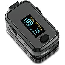 AMEMO ® Fingertip Pulse Oximeter - FDA Approved Blood Oxygen and Heart Rate Monitor, with Alarm and Beep, With Batteries, Lanyard, Silicone Cover and Carrying Case (Black)
