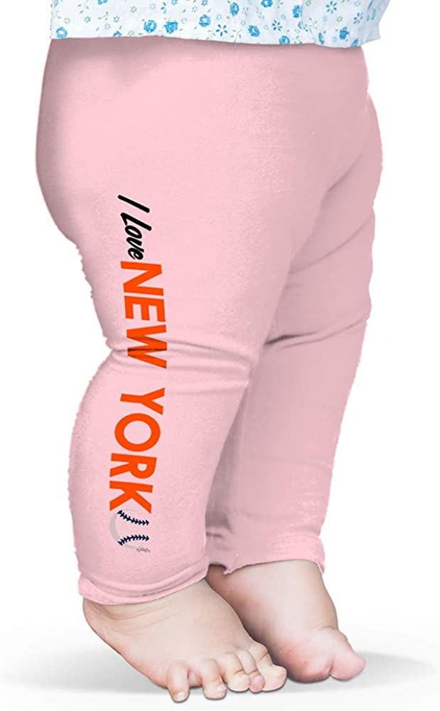 Twisted Envy Baby Pants I Love New York Baseball Baby and Toddler Girls Leggings