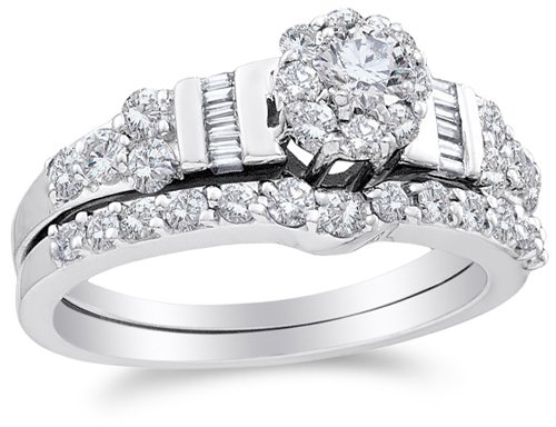 Channel Solitaire (Size 10 - 14K White Gold Large Diamond Ladies Bridal Halo Flower Shape Center Engagement Ring with Matching Curved Notched Wedding Band Two 2 Ring Set - Solitaire Setting w/ Channel Invisible Set Round, Baguette, & Round Diamonds - (1.06 cttw))