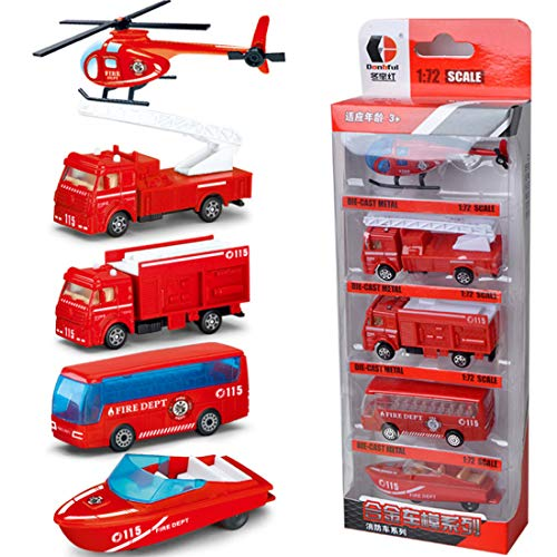 WOLFBUSH 5Pcs Fire Engine Vehicles Sliding Alloy Cars Engineering Model Playsets Construction Toys for 2 Year Old Boys Girls Children (Fire Truck Series)