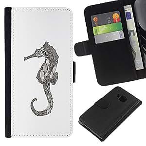 KingStore / Leather Etui en cuir / HTC One M9 / Art dessin au crayon graphique