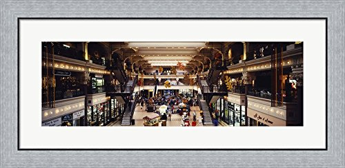 Interiors of a shopping mall, Bourse Shopping Center, Philadelphia, Pennsylvania, USA by Panoramic Images Framed Art Print Wall Picture, Flat Silver Frame, 35 x 17 - Philadelphia Center Shopping