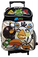 Angry Birds Full Size Rolling Backpack - Black/Silver