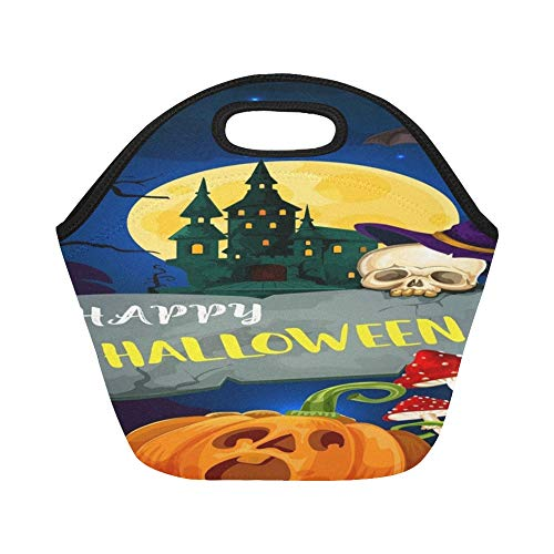 - Insulated Neoprene Lunch Bag Happy Halloween Greeting Card Cartoon Monsters Large Size Reusable Thermal Thick Lunch Tote Bags For Lunch Boxes For Outdoors,work, Office, School