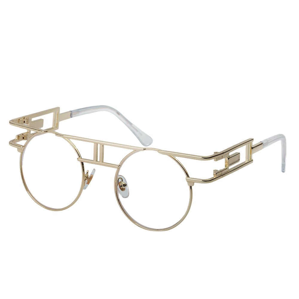 QIYIGE John Lennon Style Metal Spring Frame Round Steampunk Glasses with Clear Lens (Double Bridge Gold Frame/Clear Lens, 51) by QIYIGE