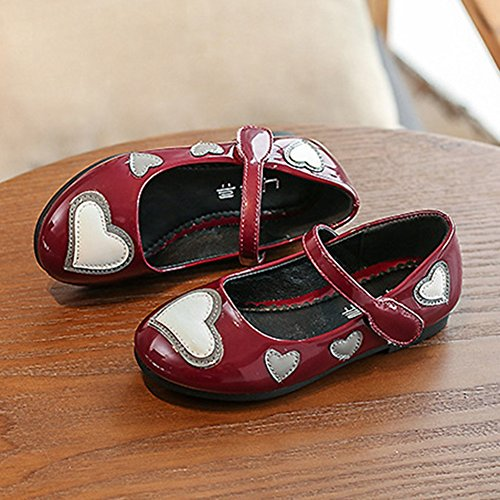 T-JULY Summer Girls Mary Jane Shoes Love Heart Ballet Flat with Strap (Toddler/Little Kid/Big Kid) Wine Red by T-JULY (Image #5)