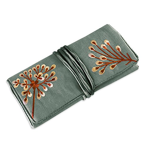 Jewelry Roll Clutch Embroidered Dandelion