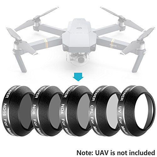 Neewer Multi-coated 5 Pieces Filter Kit for DJI Mavic Pro Drone Quadcopter Includes: UV, CPL, ND4, ND8 and ND16 Filter, Made of Ultra High Definition Glass and Aluminum Thread Frame