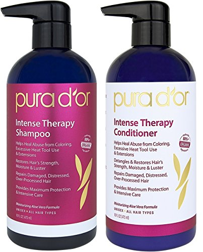 PURA D'OR Intense Therapy Hair Repair 2-Piece Shampoo & Conditioner Set for Damaged, Distressed, Over-Processed Hair, Infused with Natural & Organic Ingredients for All Hair Types, Men and Women