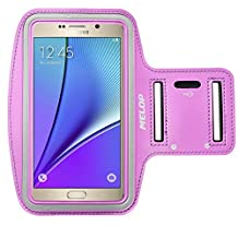 """MELOP Armband (5.7"""") for Samsung Galaxy Note 5 Note 4 Note 3 Note II Note Edge, J3 J3V J7, LG K7 K10 G5 SE, Soft Sweat Resistant Sports Gym Arm Band with Key Holder and Card / Cash Pocket - Purple"""