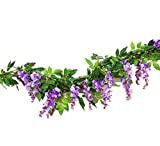 Sunrisee 2 Pcs Artificial Flowers 6.6ft Silk Wisteria Ivy Vine Hanging Flower Greenery Garland for Wedding Party Home Garden Wall Decoration, Purple