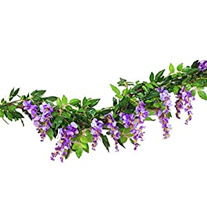 Sunrisee 2 Pcs Artificial Flowers 6.6ft Silk Wisteria Ivy Vine Hanging Flower Greenery Garland for Wedding Party Home Garden Wall Decoration 99