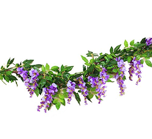 Sunrisee 2 Pcs Artificial Flowers 6.6ft Silk Wisteria Ivy Vines Hanging Flower Greenery Garland for Wedding Party Home Garden Wall Decoration, Purple