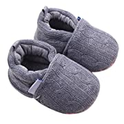 LNGRY Infant Baby Girl Boy Toddler Shoes Sneaker Anti-slip Soft Sole Home Shoes (0-6 Months, Gray)