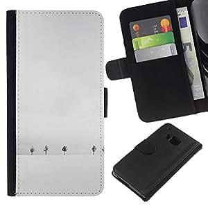 KLONGSHOP // Tirón de la caja Cartera de cuero con ranuras para tarjetas - Invierno Árboles blancos minimalista Fría - HTC One M9 //