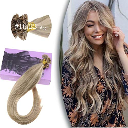 VeSunny 20inch U Tip Remy Hair Extensions Color #16 Golden Blonde Mixed #22 Light Blonde Keratin Hair Extentions 1g/s 50G