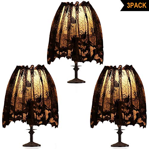 3Pcs Halloween Lamp Shade Cover Decoration, Black Lace Ribbon Spider web Lampshades Cover Topper Scarf for Festive Party Indoor Decor Supplies, Large 20 X 60 Inch Spiderweb Lamp Shade Cover (Topper Lampshade Halloween)