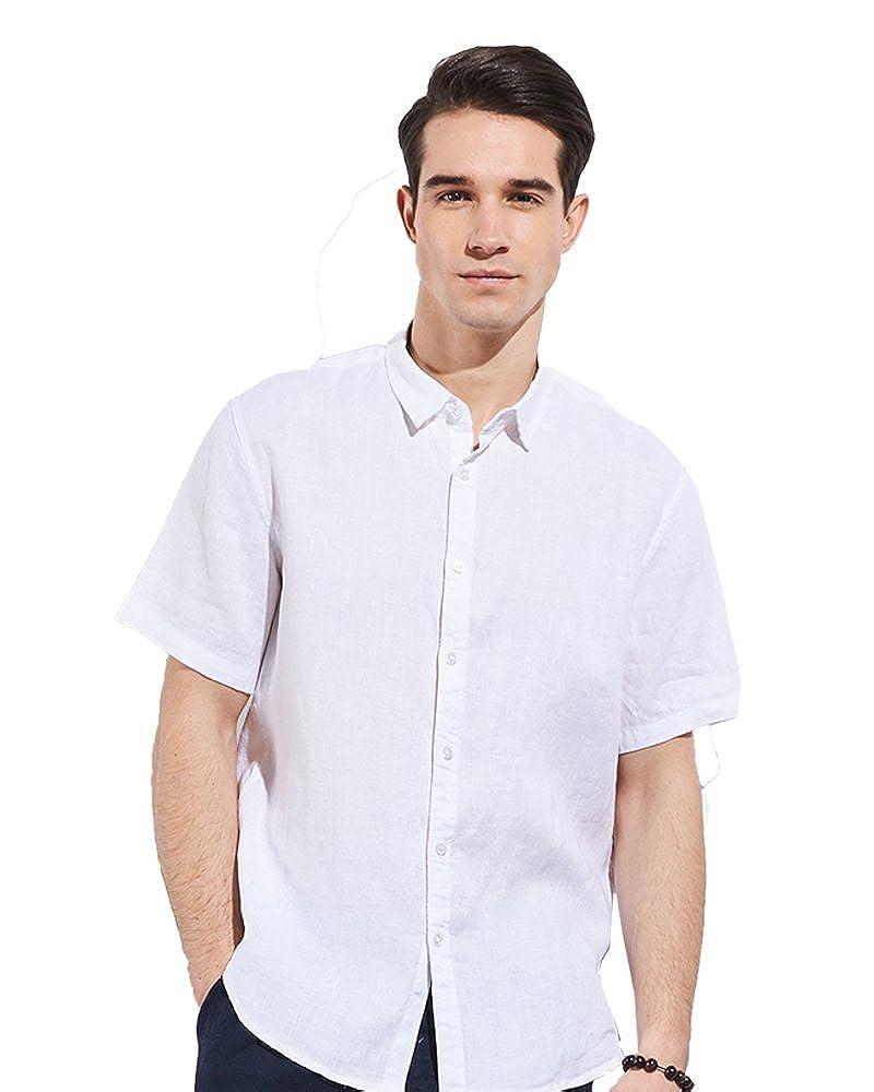 Freizeit UAISI Herren Langarm 100% Leinen Hemd Freizeit Hemd